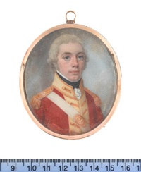 an officer, wearing red coatee with cream facings and gold epaulettes over frilled white chemise and black stock, white cross belt with gold by lewis (of bath) vaslet