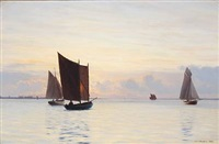 sailing ships at sunset, presumably in the archipelago south of funen by carl (jens erik c.) rasmussen