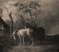 chevaux dans une prairie by ferdinand ernst lintz