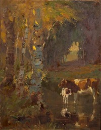 cow and calf in the river shallows, autumn by george glenn newell