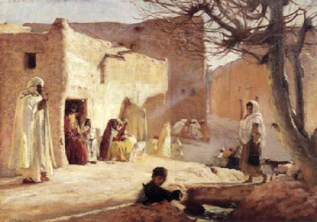 scène de village dans le sud algérien by louis joseph anthonissen