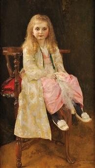 portrait de jeune fille by gustave claude etienne courtois
