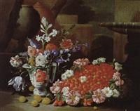 natura morta con frutta e fiori, firmato a destra by francesco della questa