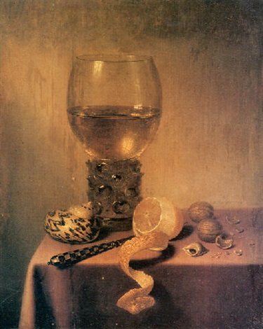 a roemer two shells a peeledlemon a knife and walnuts on a draped table by maerten boelema de stomme