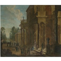 a capriccio of a palace exterior with figures conversing in the foreground by jan baptist van der straeten