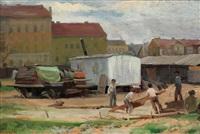 zirkuswagen in der vorstadt by zdislav hercík