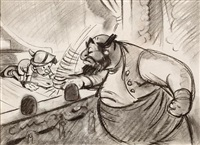 pinocchio and stromboli (concept drawing for there are no strings on me) by walt disney