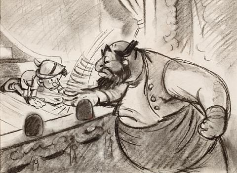 pinocchio and stromboli concept drawing for there are no strings on me by walt disney