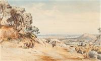 vue de hyères prise de la pierre glissante by vincent joseph françois courdouan