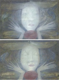 girl with eyes open (+ girl with eyes shut; pair) by margaret macdonald mackintosh