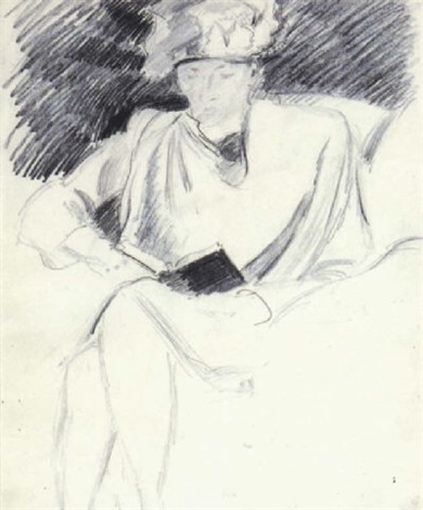 femme assise lisant by vladimir tatlin
