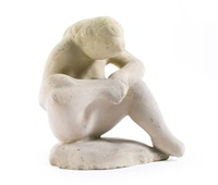 seated woman as spinario by elie nadelman
