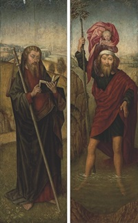 saint christopher (+ saint james the greater; 2 works) by hans memling