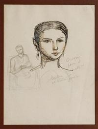 croquis para el retrato de la sra. de marte gómez by angel zárraga