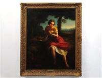 maiden in a landscape bathing feet by james john hill