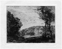 campagne boisée (la maisonnette) by jean-baptiste-camille corot