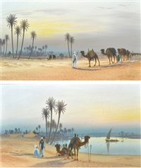 evening on the nile and the desert oasis (pair) by roy leitch