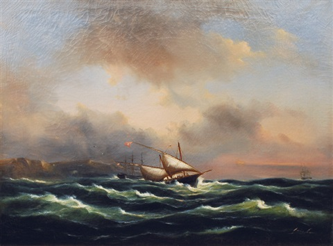 turkish dhow and two three masters offshore by govert van emmerik