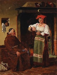 an italian woman pours wine for a monk by wenzel ulrik tornoe
