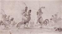 officiers montés sur des coqs by rodolphe töpffer