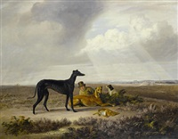 an extensive landscape with greyhounds and a young sportsman by edmund bristow