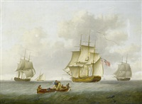 merchant and naval frigate closing offshore by william anderson