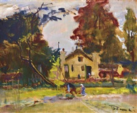 the garden of the artists' colony of szentendre by jános tornyai