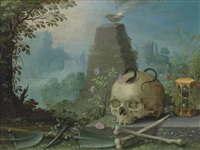 a skull with a snake, an hour-glass, a scythe, with roses and other wild flowers before a pyramid and sacrificial bowl, in an arcadian landscape by antwerp school