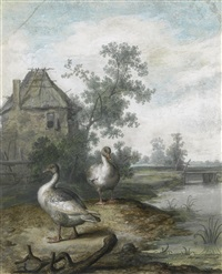 two ducks in a landscape by margarethe de heer