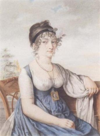portrait de femme assis dans un paysage portant une miniature autour du cour by antoine louis françois sergent marceau