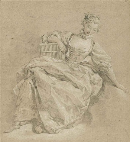 a seated young woman leaning on a birdcage by françois boucher