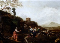 scen pastorale dans la compagne romaine by job adriaensz berckheyde