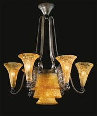six-light chandelier by daum and edgar brandt