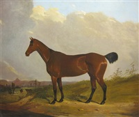 a bay hunter on a path,an extensive landscape beyond by joseph (of worcester) dunn