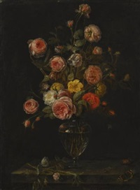 a still life with red, white and pink roses in a glass vase over a stone ledge with butterflies, a grasshopper and a beetle by alexander adriaenssen the elder