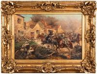 charge de cavaliers français en bleu horizon contre une position allemande, combat à dompierre (somme) le 2 juillet by paul emile léon perboyre