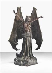 le vampire/la chauve-souris, a rare symbolist figure by agathon léonard