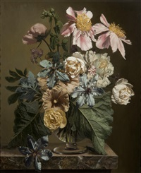 clematis and peonies by bennett oates