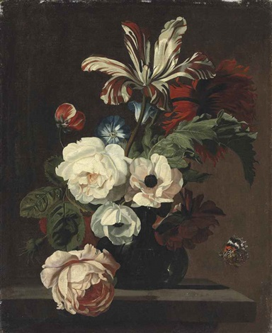 roses, a parrot tulip, convolvulus and a carnation in a glass vase on a stone ledge, with an admiral butterfly by simon pietersz verelst