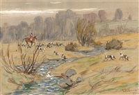 huntsman and hounds crossing a stream, radnor hunt by charles morris young