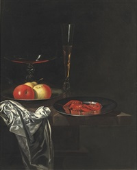 two venetian glasses, apples on a pewter plate and a silver dish with crayfish by georg hainz
