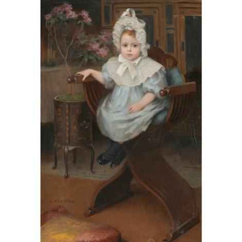 portrait denfant assis by etienne azambre