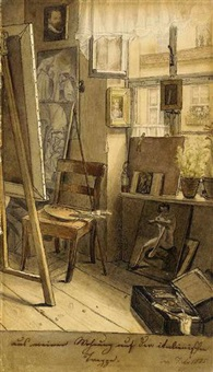 the artist's studio in romethe artist's studio in rome by ferdinand-theodor hildebrandt