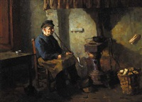 man seated by a wood stove, smoking a pipe by mary duncan
