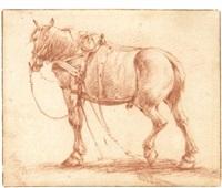tacked up horses (2 works) by adriaen van de velde