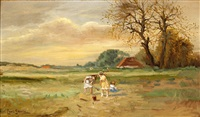 playing children in a landscape by louis soonius