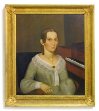 a young lady at pianoforte and a gentleman in black frock coat (pair)(luella j. bartlett and her husband?) by joseph whiting stock