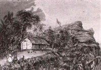 the first school house and chapel, pitcairn island by w. smythe