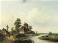 a polder landscape with figures by a bridge by louis smets
