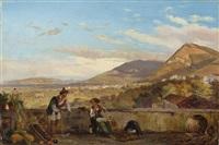 paar mit kind vor italienischer landschaft by carl (karl) wilhelm götzloff